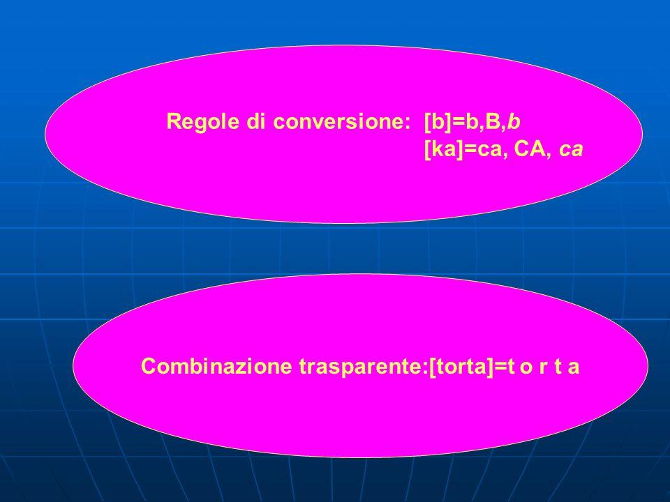 Regole di conversione: [b]=b,B,b [ka]=ca, CA, ca
